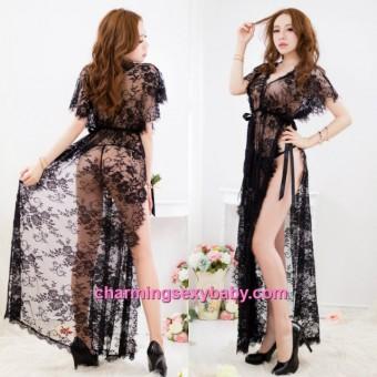 Sexy Lingerie Black Lace Sides Slit Long Babydoll Dress + G-String Night Sleepwear BH15002