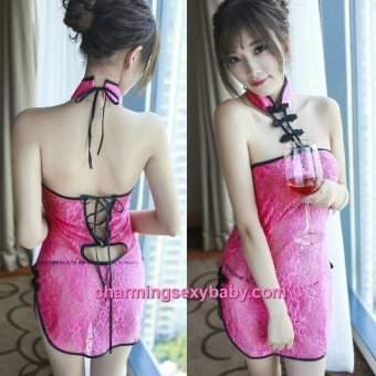 Sexy Lingerie Rose Red Lace Cheongsam Back Tie Dress + G-String Costume Sleepwear MH6198