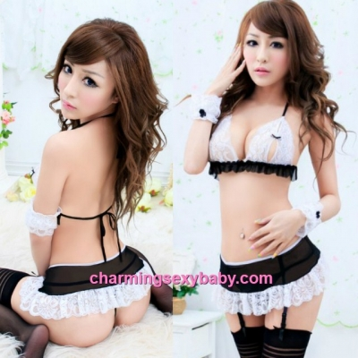 Sexy Lingerie Lace Bra + Skirt + Garter Belts + Wristbands Sleepwear BH7043