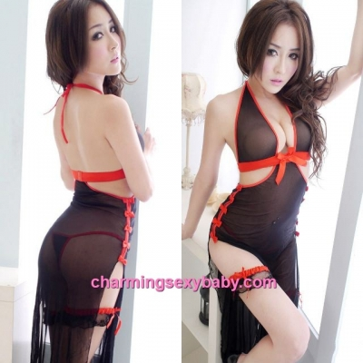 Sexy Lingerie Black Halter Low-Cut See-Through Long Dress + G-String + Leg Band Sleepwear Costume BH7083