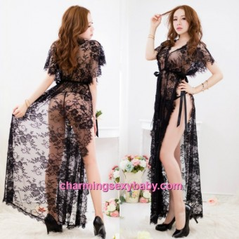 Sexy Lingerie Black Lace Sides Slit Long Babydoll Dress + G-String Night Sleepwear BH15002