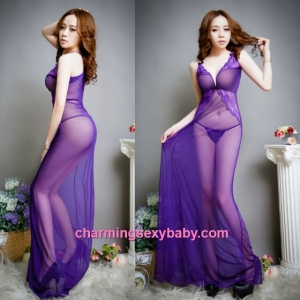 Sexy Lingerie Purple Deep V See-Through Long Dress + G-String Sleepwear BH16015