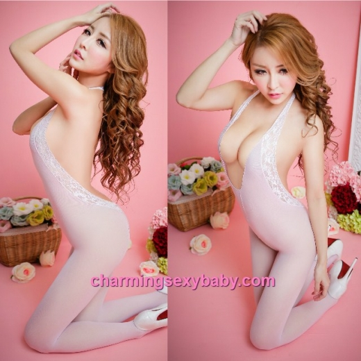 Sexy Body Stocking Suit Pink Open Crotch Lingerie Sleepwear BH312