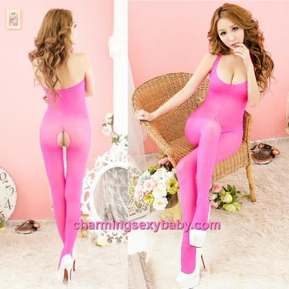 Sexy Body Stocking Suit Rose-Red Open Crotch Lingerie Sleepwear BH312
