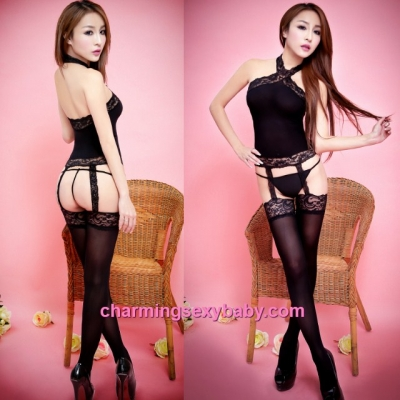 Sexy Black Lace Body Stocking Suit + G-String Lingerie Sleepwear BH313