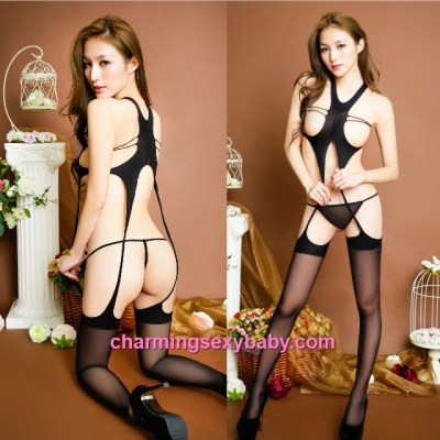 Sexy Body Stocking Suit Black Open Breast Lingerie Nightwear Sleepwear BH333