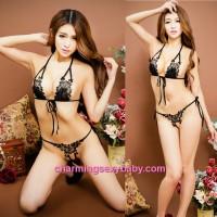 Sexy Lingerie Black Bikini Bra + G-String Outfit Sleepwear Nightwear BH7202