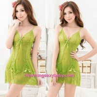 Sexy Lingerie Green Lace Sling See-Through Thong Back Babydoll Dress + G-String Sleepwear BH8038