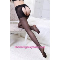Sexy Lingerie Black Over The Knee Pantyhose Open Crotch High Socks Stocking Nightwear BHC010