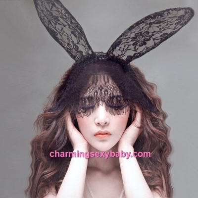 Sexy Lingerie Accessories Rabbit Ears Hair Band Eye Mask Colsplay Costume BHM001
