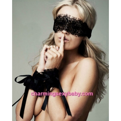 Sexy Women Lace Eye Mask  + Handcuffs Cosplay Costume Lingerie Accessories BHN006