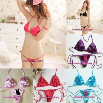Sexy Lingerie Women Bikini Set Bra + Thong Panties Sleepwear Nightwear (6 Colors) LY004(SET)