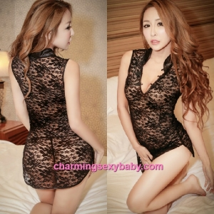 Sexy Lingerie Black Lace Cheongsam Dress + G-String Costume Sleepwear MH6075