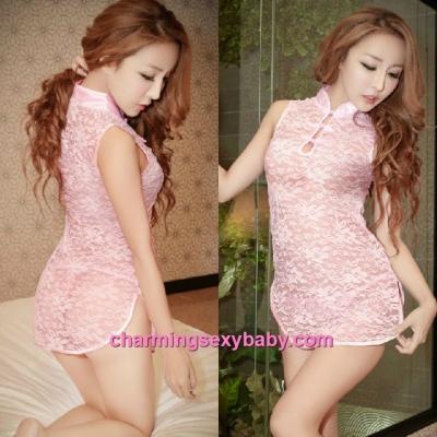 Sexy Lingerie Pink Lace Cheongsam Dress + G-String Costume Sleepwear MH6075