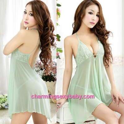 Sexy Lingerie Green Low-Cut Halter Babydoll Dress + G-String Sleepwear MH6121
