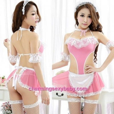 Sexy Lingerie Pink Fancy Maid Teddies + Apron Cosplay Costume Night Sleepwear MH6122
