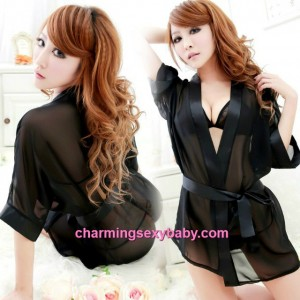 Sexy Lingerie Black Bikini Bra + G-String + Robes Outfits Sleepwear MH6150