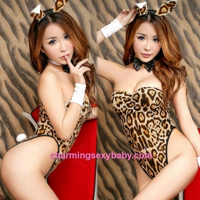 Sexy Lingerie Leopard Print Rabbit Girl Teddies Cosplay Costume Party Dress Sleepwear Nightwear MH6160