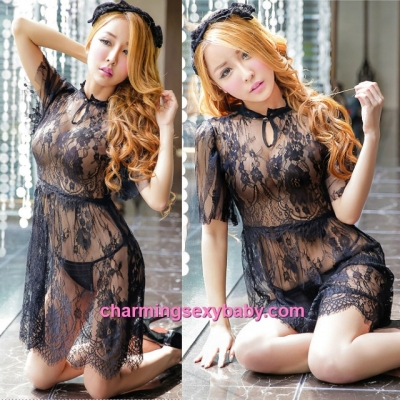 Sexy Lingerie Black Lace See-Though Dress + G-String Costume Sleepwear MH6183