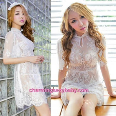 Sexy Lingerie White Lace See-Though Dress + G-String Costume Sleepwear MH6183