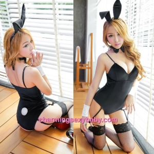 Sexy Lingerie Black Rabbit Teddies Garter Belts Costume Cosplay Dress Sleepwear Nightwear MH6186