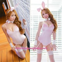 Sexy Lingerie Pink Rabbit Teddies Garter Belts Costume Cosplay Dress Sleepwear Nightwear MH6186