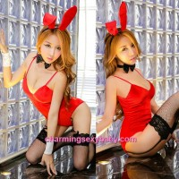 Sexy Lingerie Red Rabbit Teddies Garter Belts Costume Cosplay Dress Sleepwear Nightwear MH6186