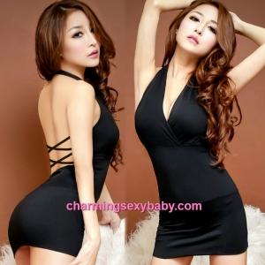 Sexy Lingerie Black Low-Cut Clubwear Party Dress Costume Nightwear MH8802