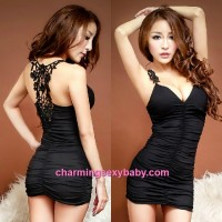 Sexy Lingerie Black Knitted Back Tight Party Dress With Chest Pad Clubwear Costume Nightwear MH8808