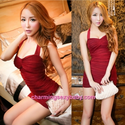 Sexy Lingerie Burgundy Halter Tight Clubwear Party Dress Costume Nightwear MH8813