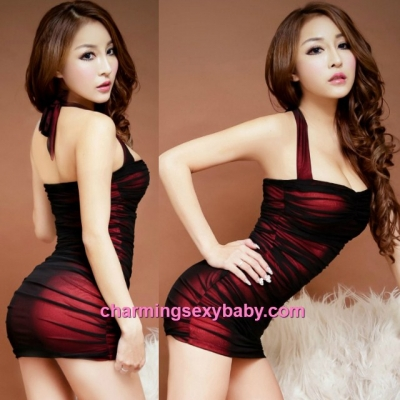 Sexy Lingerie Black + Red Halter Tight Clubwear Party Dress Costume Nightwear MH8813