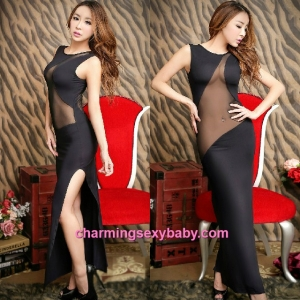 Sexy Lingerie Black See-Through Long Dress Partywear Nightwear Sleepwear MH8828