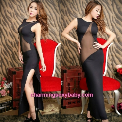 Sexy Lingerie Black See-Through Long Dress Partywear Nightwear Sleepwear MH8828