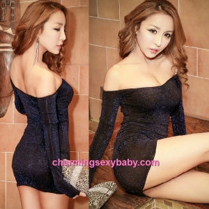 Sexy Lingerie Blue Flash Party Dress Clubwear Nightwear Costume MH8850