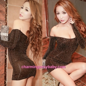 Sexy Lingerie Gold Flash Party Dress Clubwear Nightwear Costume MH8850