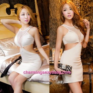 Sexy Lingerie Beige Dress Clubwear Party Dress Nightwear Sleepwear MH8853
