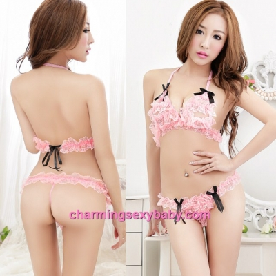 Sexy Lingerie Lovely Pink Lace Bikini Bra  + G-String Sleepwear Nightwear MM2298