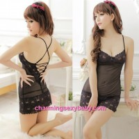 Sexy Lingerie Black Lace Low-Cut Thong Back Babydoll Dress + G-String Sleepwear MM4404