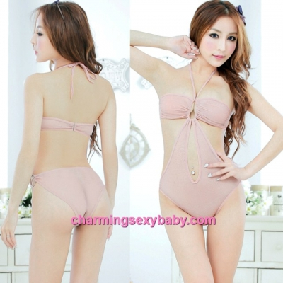 Sexy Lingerie Flesh Color Sheer Open Crotch Thong Teddies Bikini Sleepwear MM5004