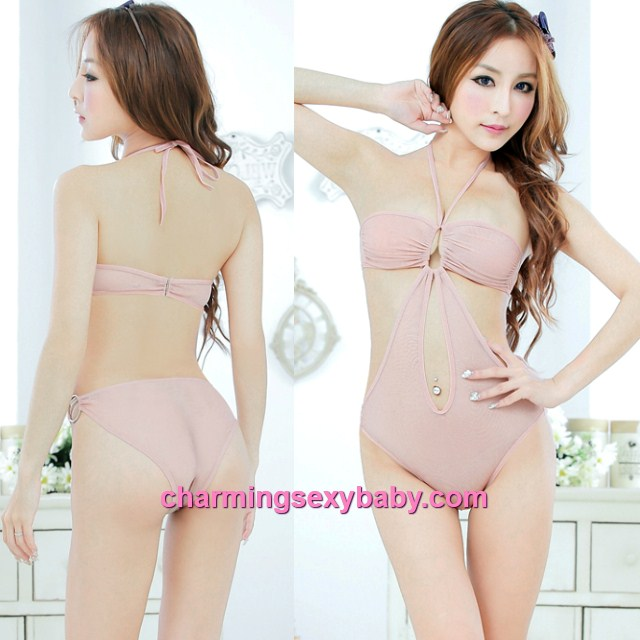 Sexy Lingerie Flesh Color Sheer Open Crotch Thong Teddies Bikini Sleepwear MM5004