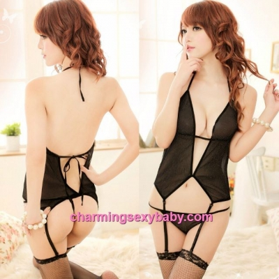 Sexy Lingerie Flash Yarn Sling Corset Top + Garter Belt + G-String Sleepwear Nightwear MM5011