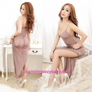 Sexy Lingerie Sling See-Through Babydoll Long Dress + G-String Night Sleepwear MM5098