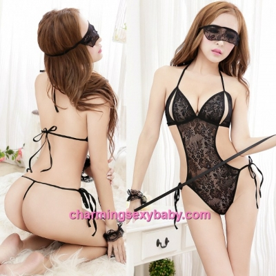 Sexy Lingerie Black See-Through Thong Teddies + Mask + Handcuffs Costume Sleepwear MM5503