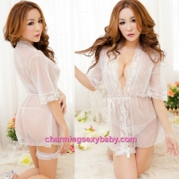 Sexy Lingerie White See-Through Sleepwear Pajamas Robes + G-String MM5510