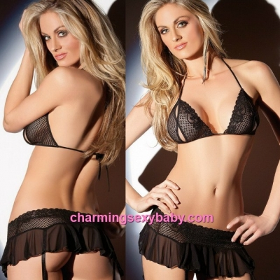 Sexy Lingerie Black Bra + G-String + Garter Belts Costume Sleepwear MM5517