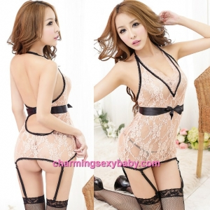 Sexy Lingerie Apricot Lace Low-Cut Dress + Garter Belt + G-String Sleepwear MM5532