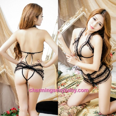 Sexy Lingerie Lace Black Open Breast Thong Straps Teddies Night Sleepwear MM5533