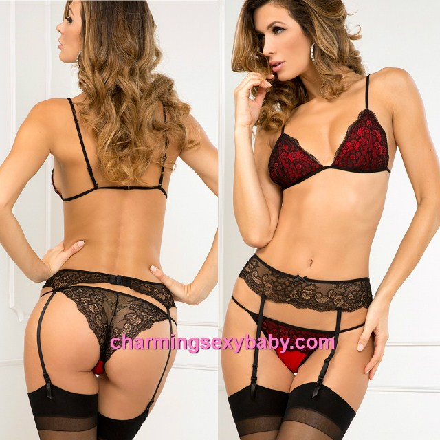 Sexy Lingerie Lace Bikini Set Bra + Panties + Garter Belt Sleepwear MM5543
