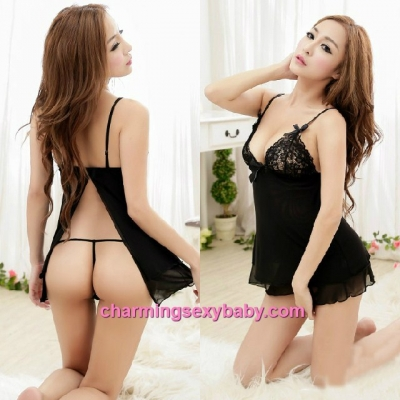 Sexy Lingerie Black Low-Cut Open Butt Sling Babydoll Dress + G-String Sleepwear MM5548