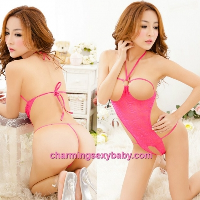 Sexy Lingerie Rose-Red See-Through Open Breast Straps Teddies Sleepwear MM5551